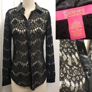NWOT CATHERINE MALANDRINO faux leather trimmed top